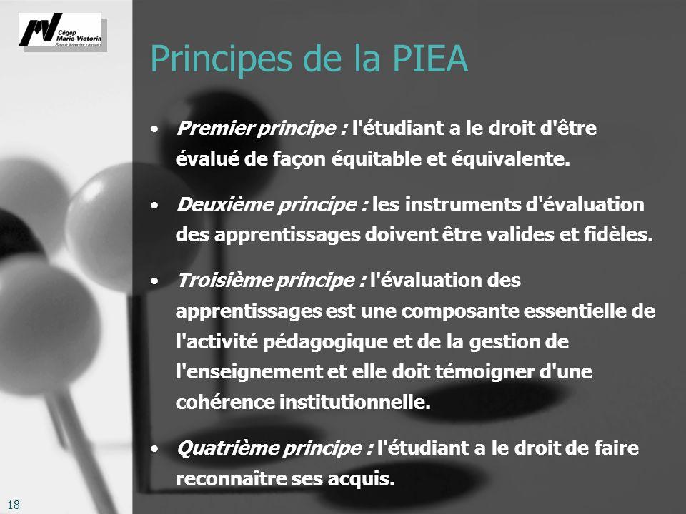 Principes de la PIEA Premier principe : l étudiant a le droit d être évalué de façon équitable et équivalente.