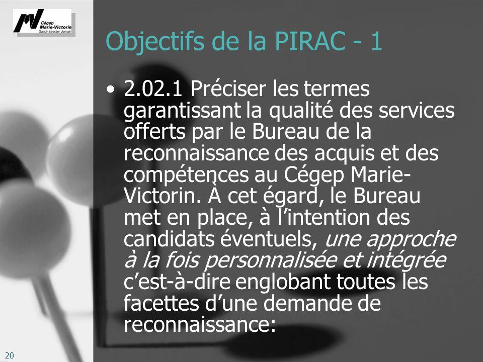 Objectifs de la PIRAC - 1