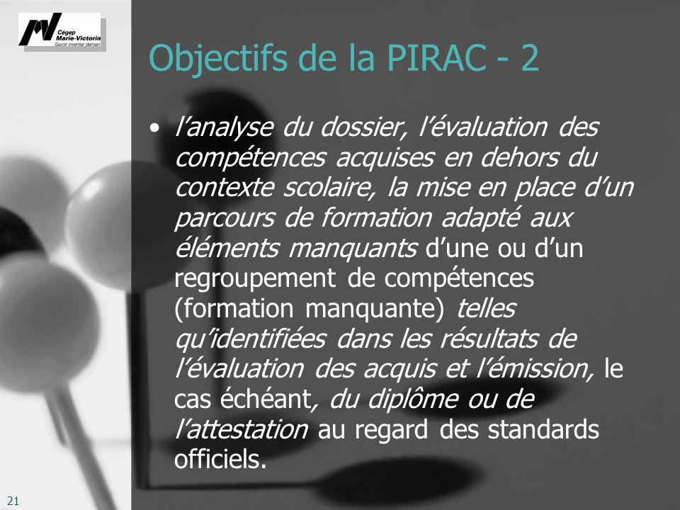 Objectifs de la PIRAC - 2