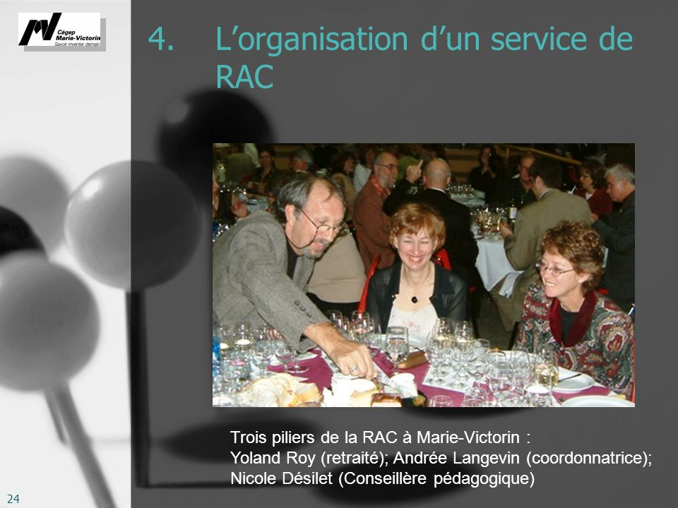 4. L'organisation d'un service de RAC