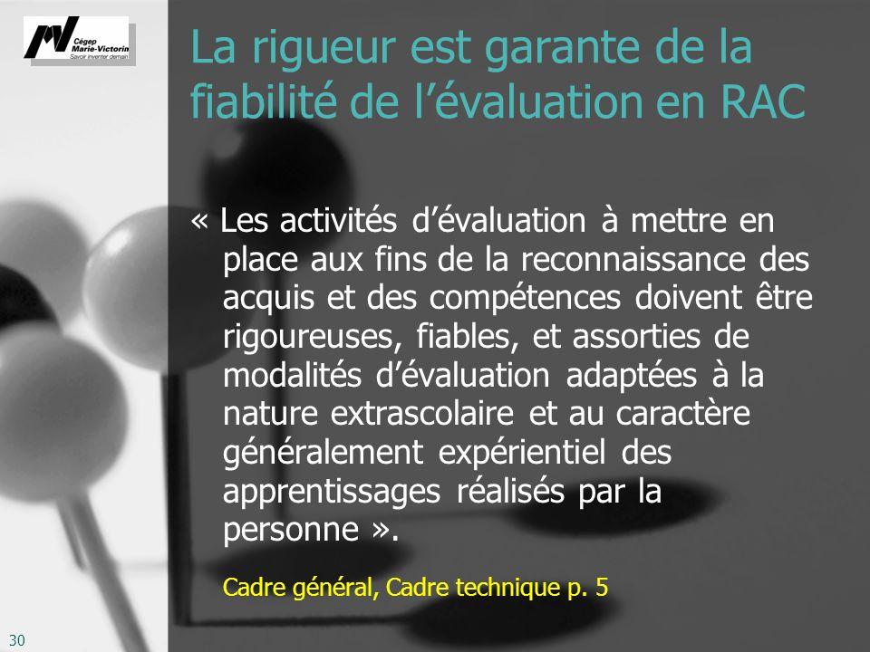 La rigueur est garante de la fiabilité de l'évaluation en RAC