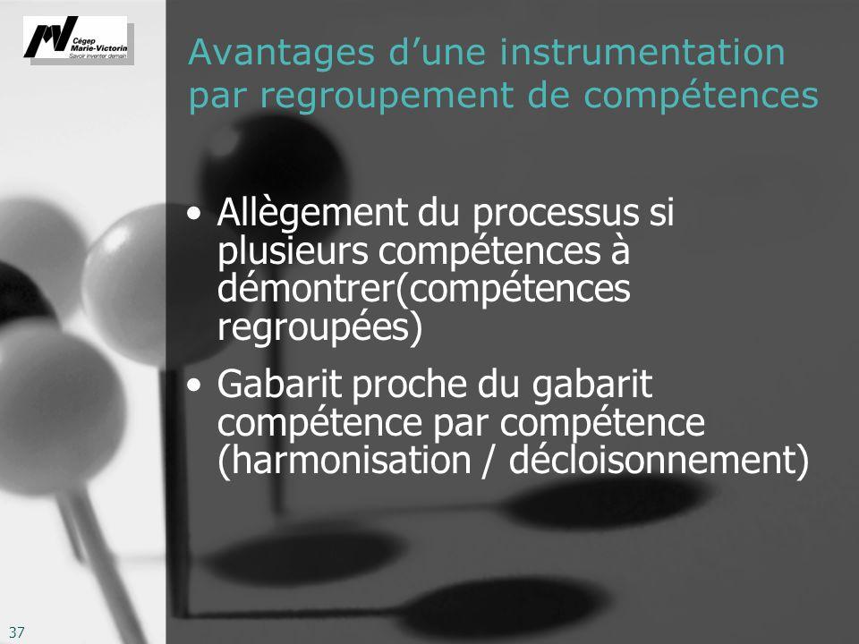 Avantages d'une instrumentation par regroupement de compétences