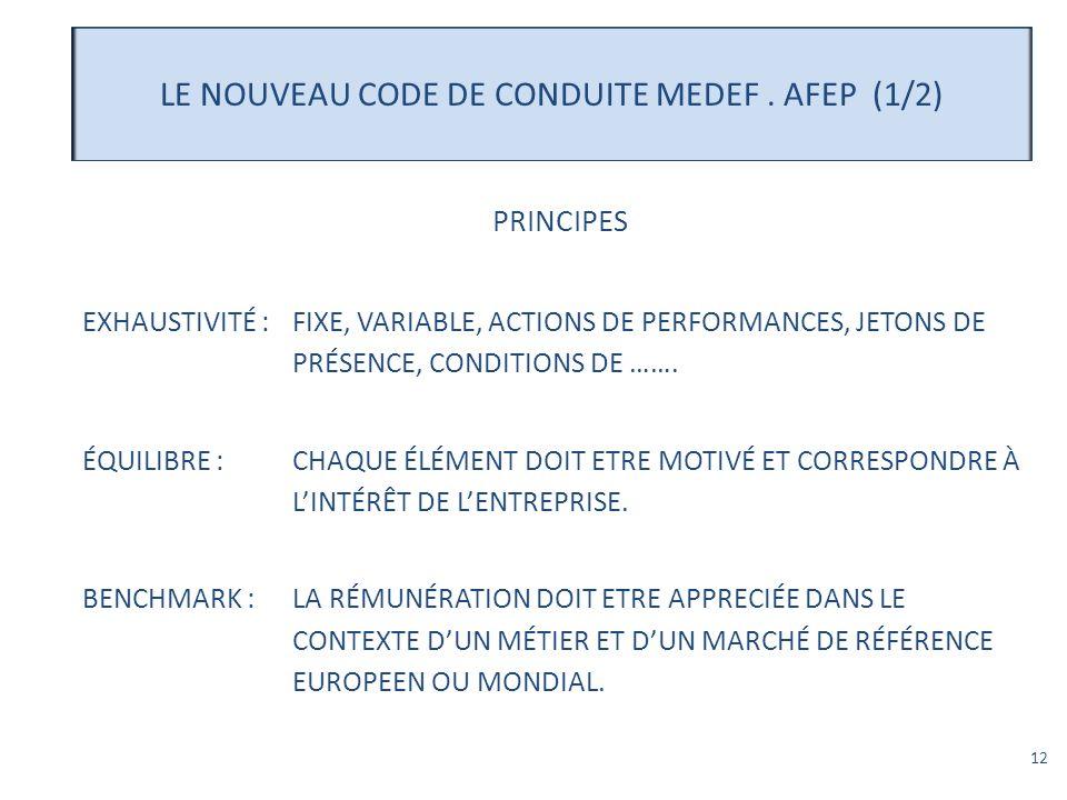 LE NOUVEAU CODE DE CONDUITE MEDEF . AFEP (1/2)