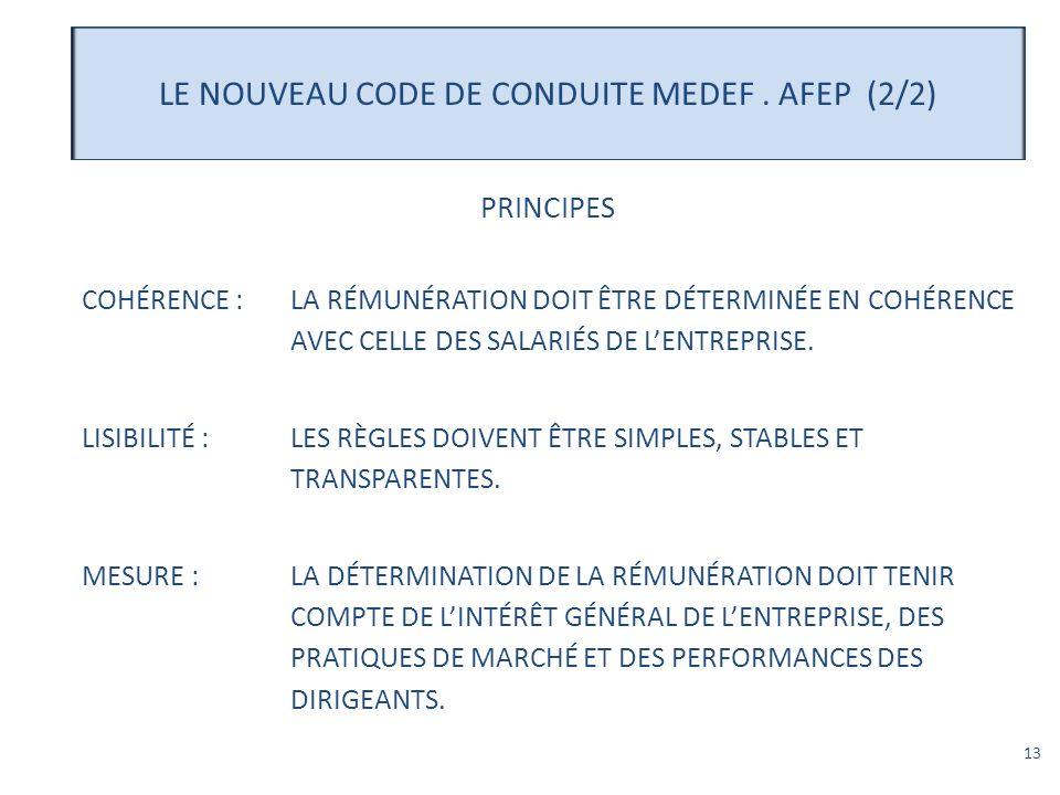 LE NOUVEAU CODE DE CONDUITE MEDEF . AFEP (2/2)