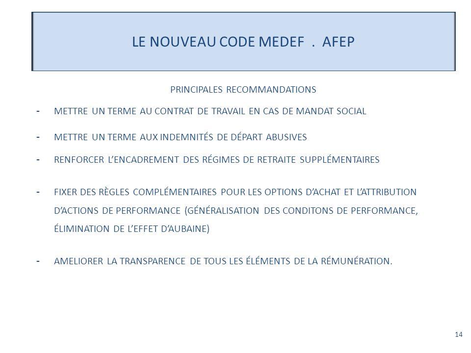 LE NOUVEAU CODE MEDEF . AFEP