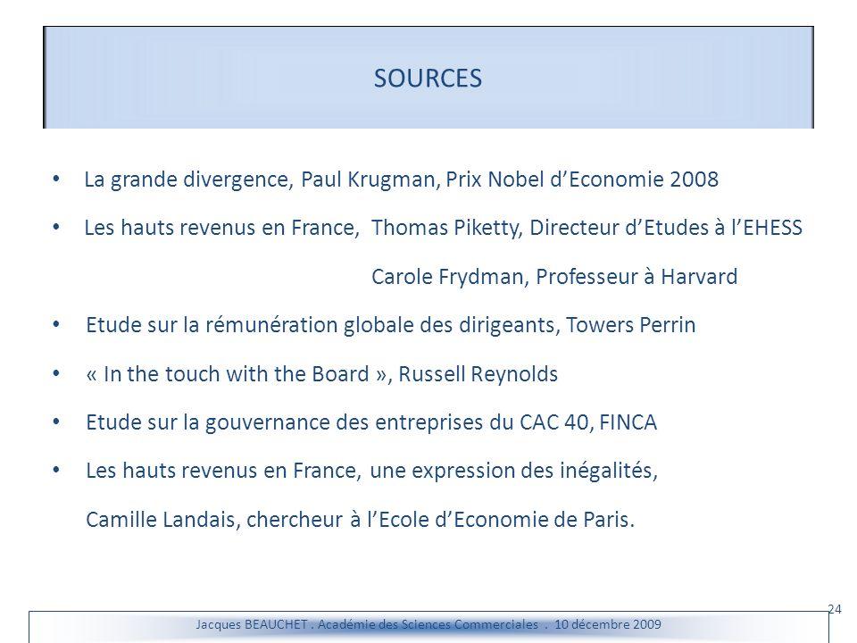 SOURCES La grande divergence, Paul Krugman, Prix Nobel d'Economie 2008