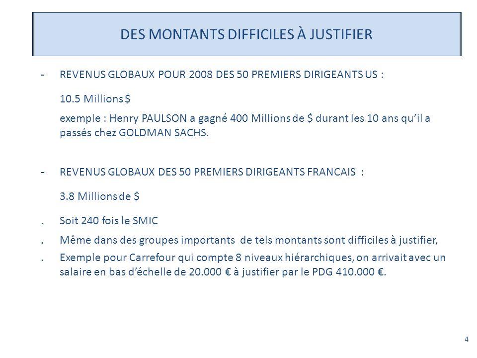 DES MONTANTS DIFFICILES À JUSTIFIER