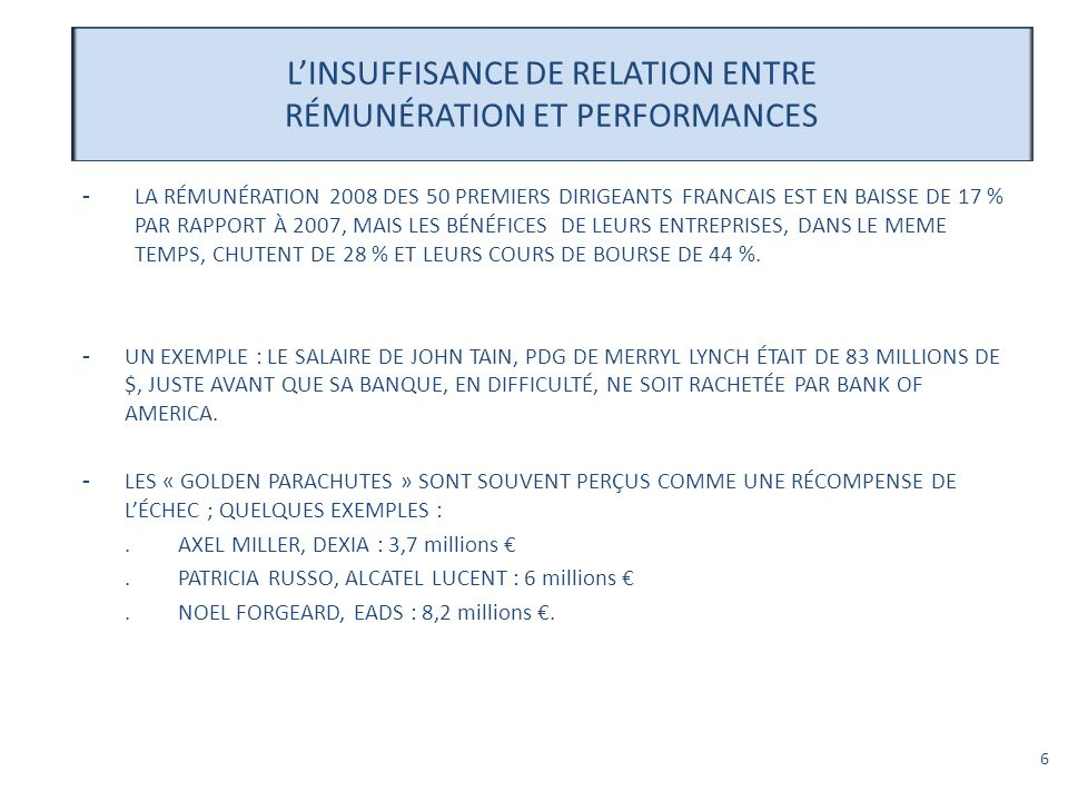 L'INSUFFISANCE DE RELATION ENTRE RÉMUNÉRATION ET PERFORMANCES