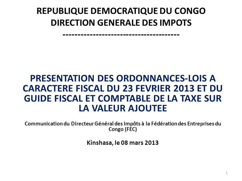 REPUBLIQUE DEMOCRATIQUE DU CONGO DIRECTION GENERALE DES IMPOTS ---------------------------------------