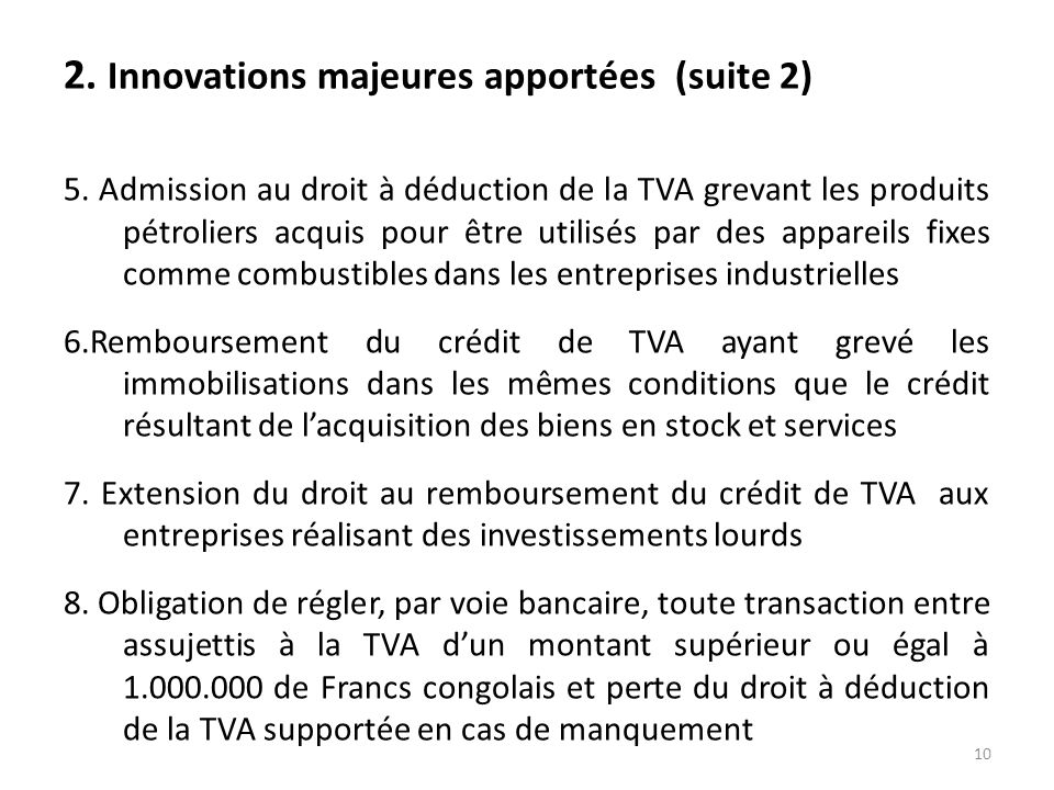 2. Innovations majeures apportées (suite 2)