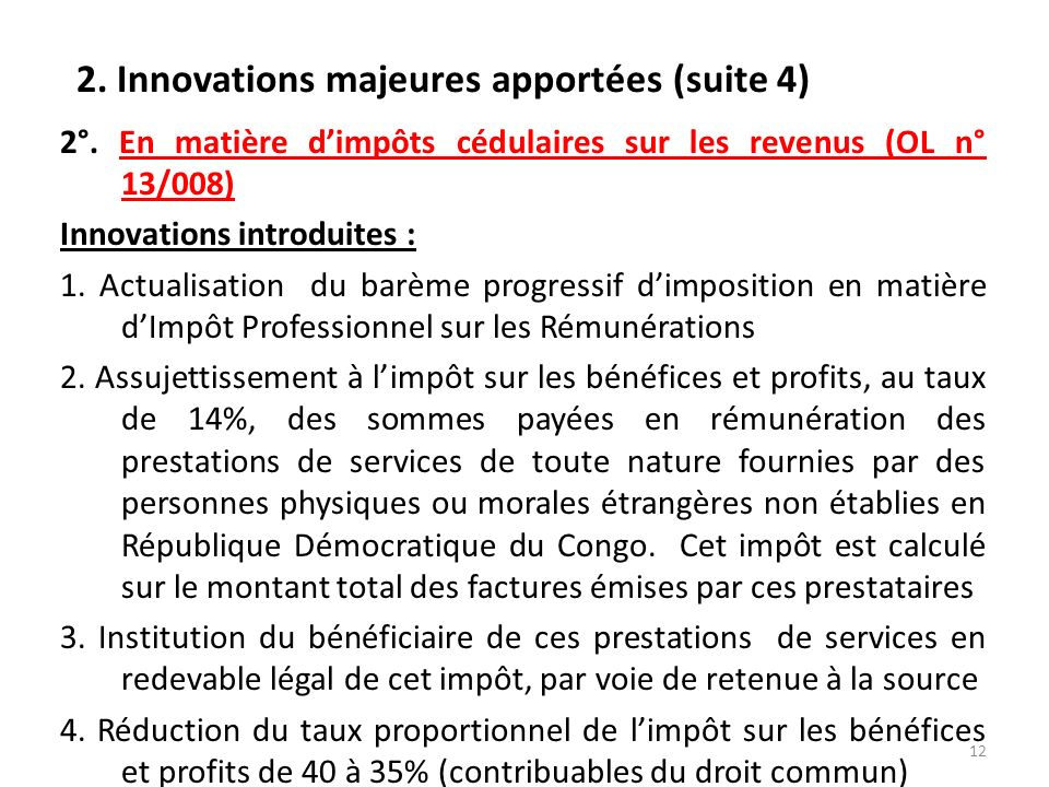 2. Innovations majeures apportées (suite 4)