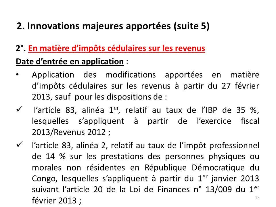 Republique democratique du congo direction generale des - Plafond non utilise pour les revenus de 2012 ...