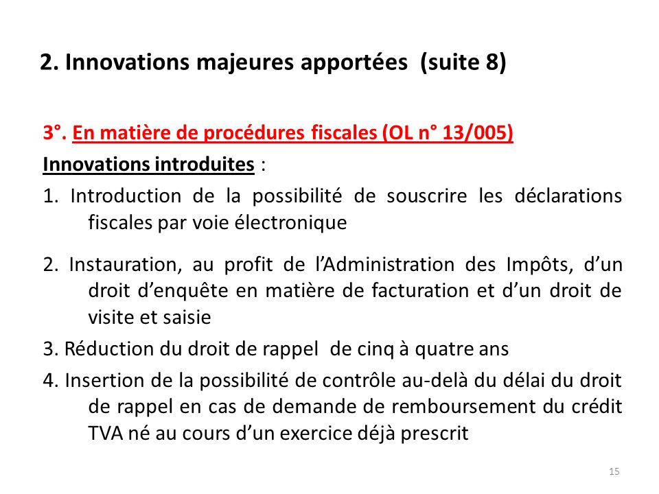 2. Innovations majeures apportées (suite 8)