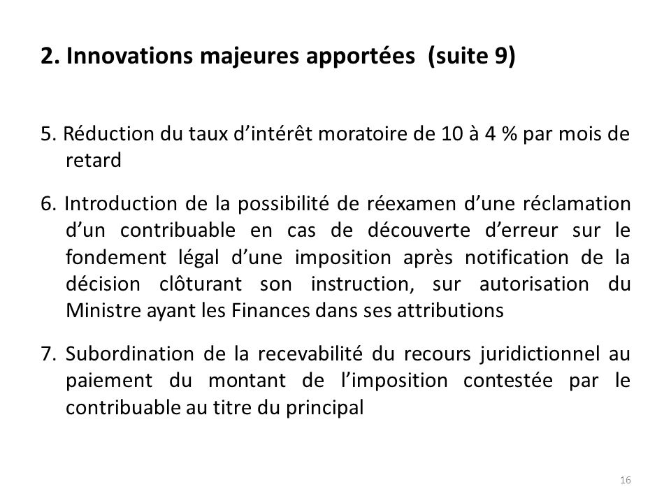 2. Innovations majeures apportées (suite 9)