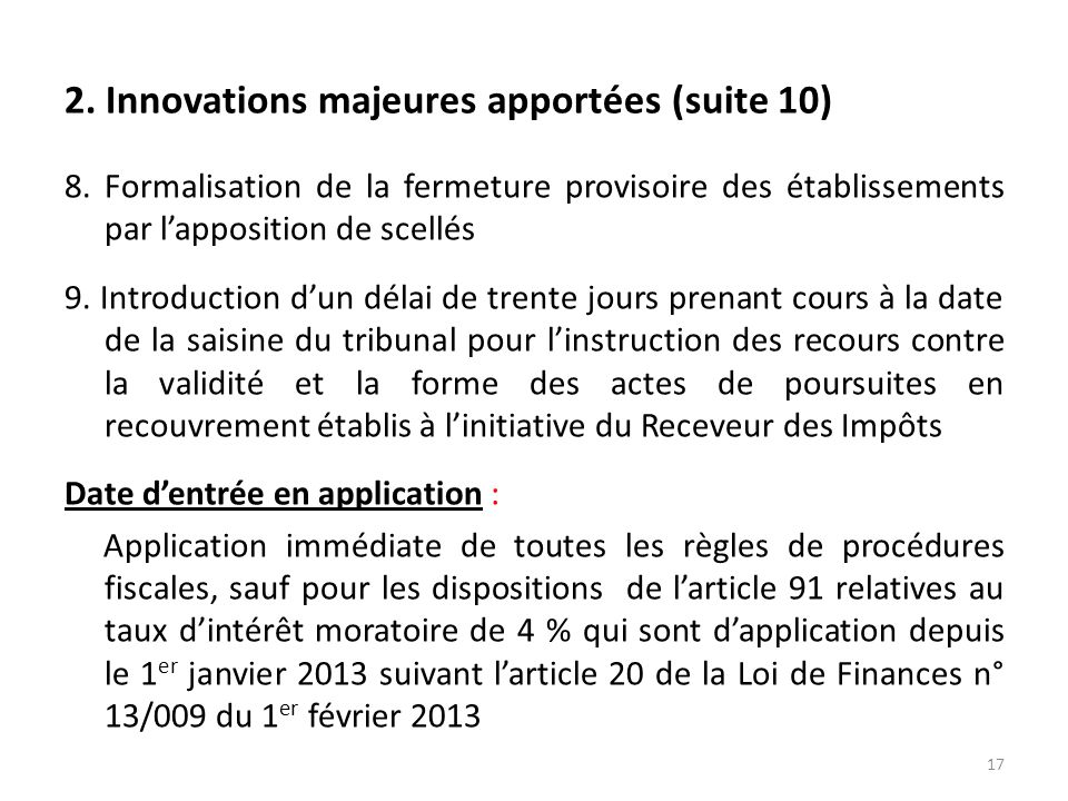 2. Innovations majeures apportées (suite 10)