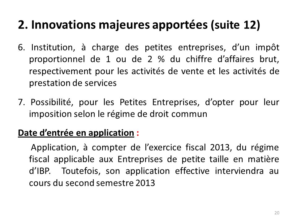 2. Innovations majeures apportées (suite 12)