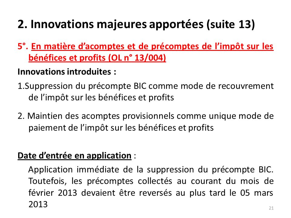2. Innovations majeures apportées (suite 13)