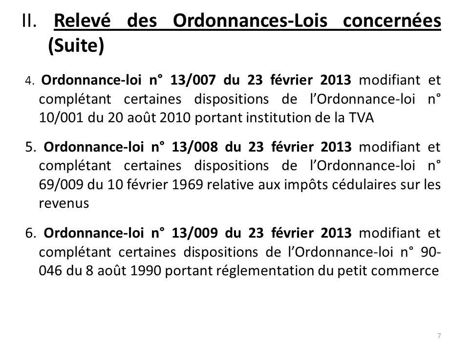 II. Relevé des Ordonnances-Lois concernées (Suite)