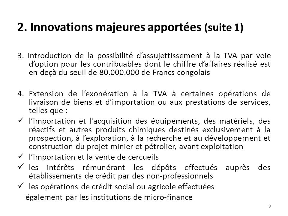 2. Innovations majeures apportées (suite 1)