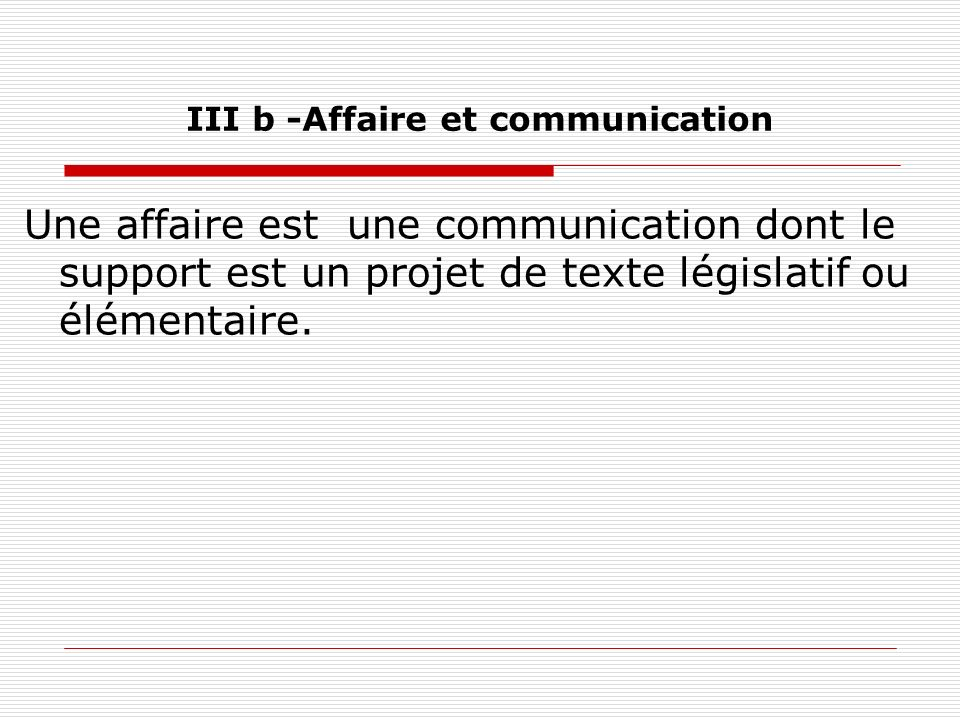 III b -Affaire et communication