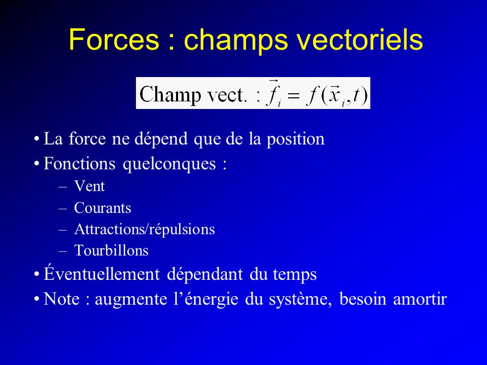 Forces : champs vectoriels