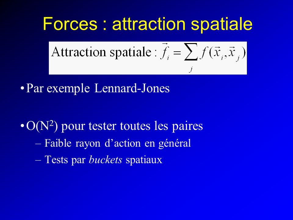Forces : attraction spatiale