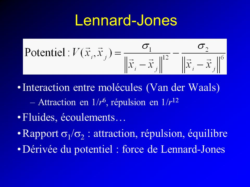 Lennard-Jones Interaction entre molécules (Van der Waals)