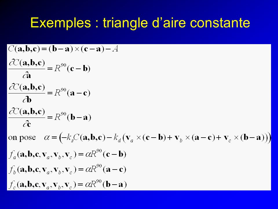 Exemples : triangle d'aire constante