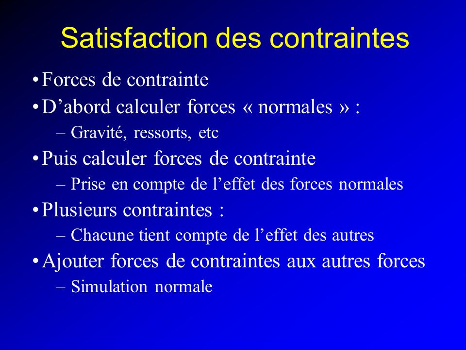 Satisfaction des contraintes