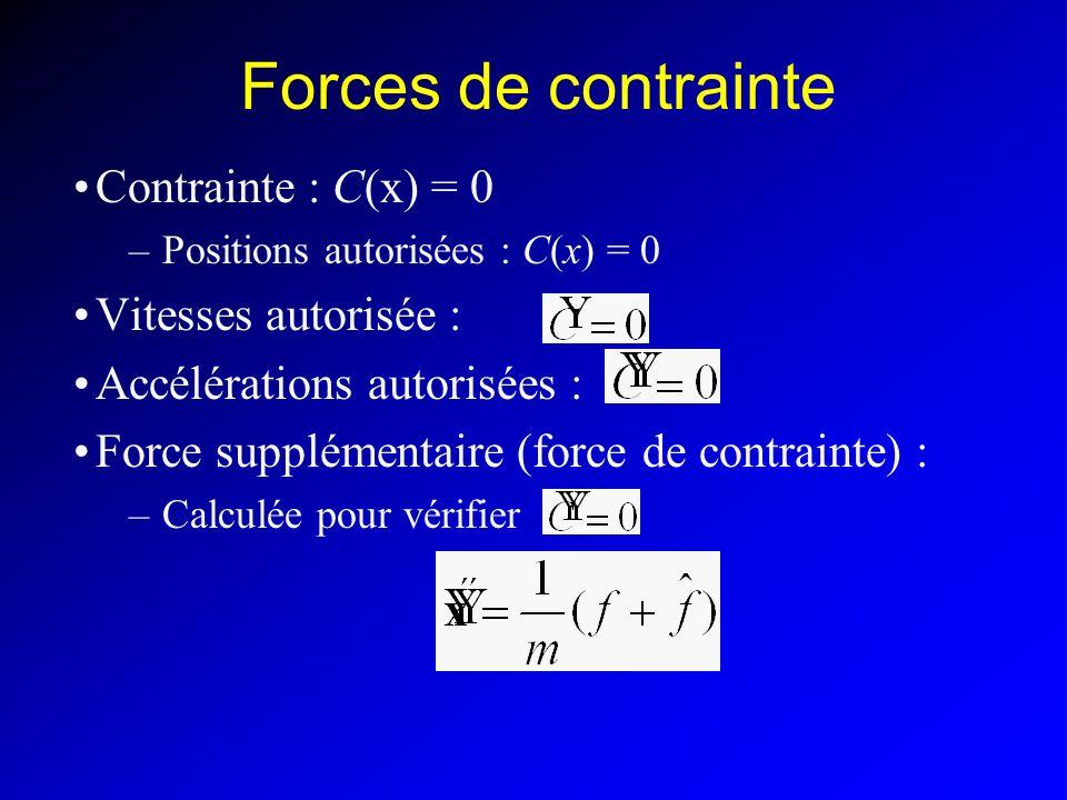 Forces de contrainte Contrainte : C(x) = 0 Vitesses autorisée :