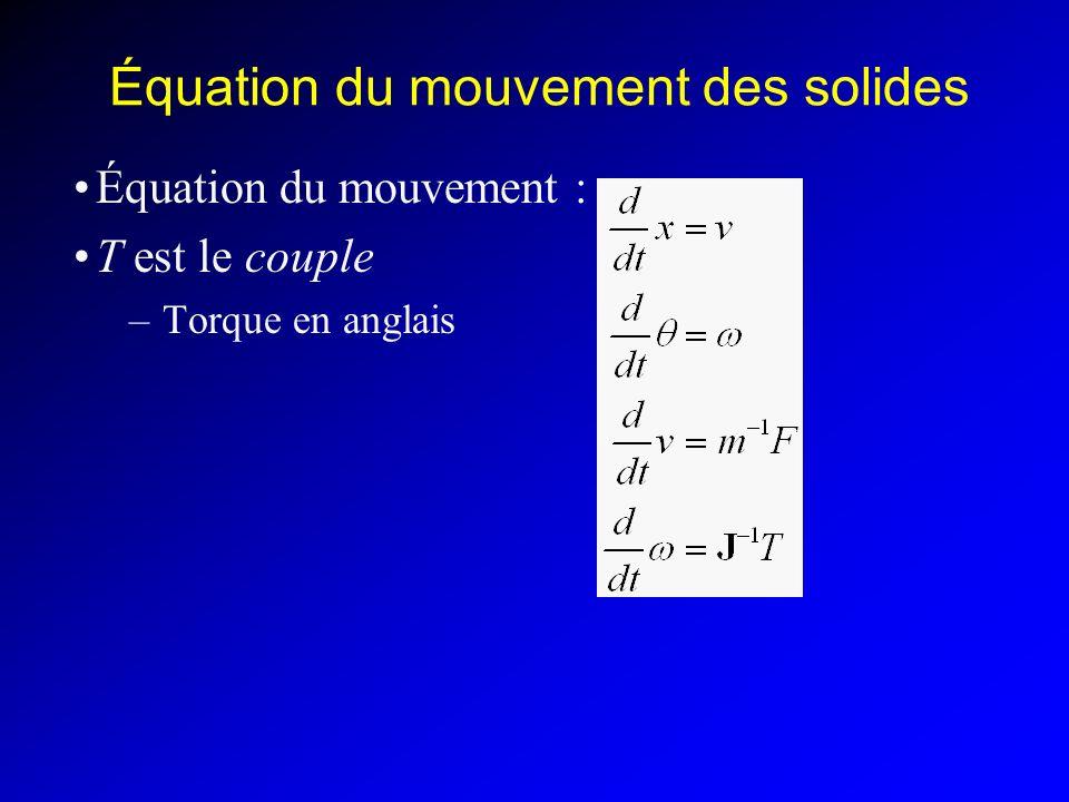 Équation du mouvement des solides