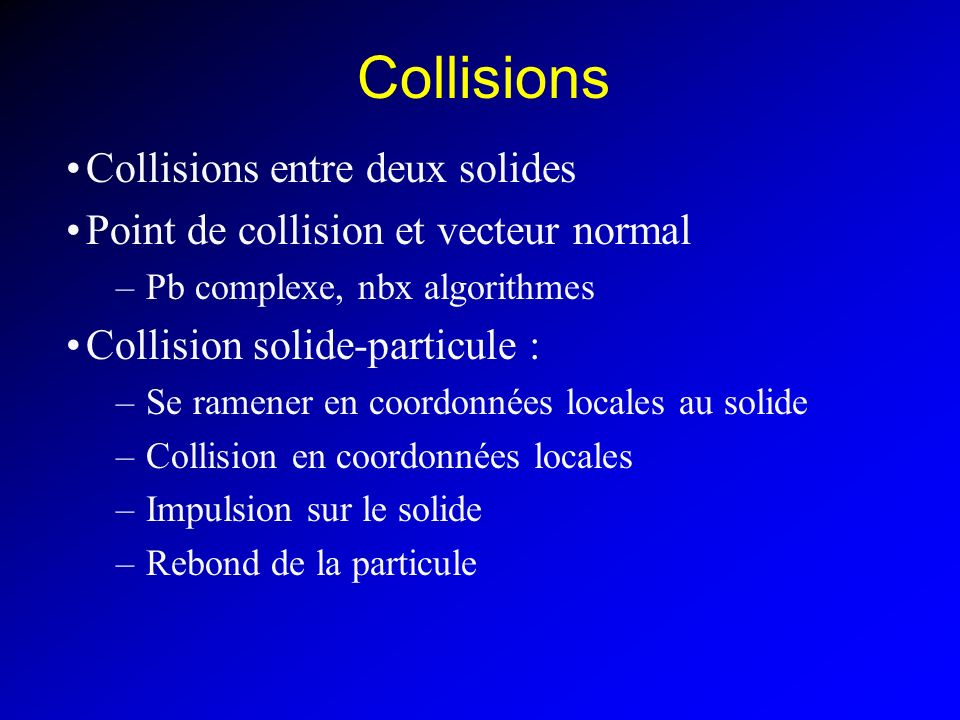 Collisions Collisions entre deux solides