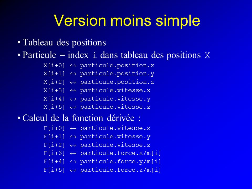 Version moins simple Tableau des positions