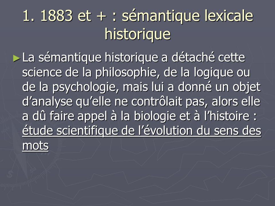 1. 1883 et + : sémantique lexicale historique
