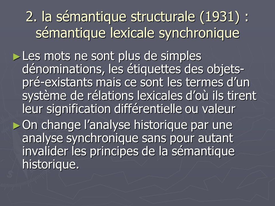 2. la sémantique structurale (1931) : sémantique lexicale synchronique