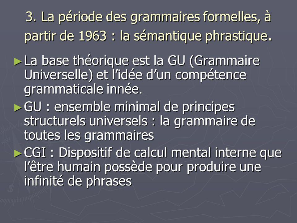 3. La période des grammaires formelles, à partir de 1963 : la sémantique phrastique.