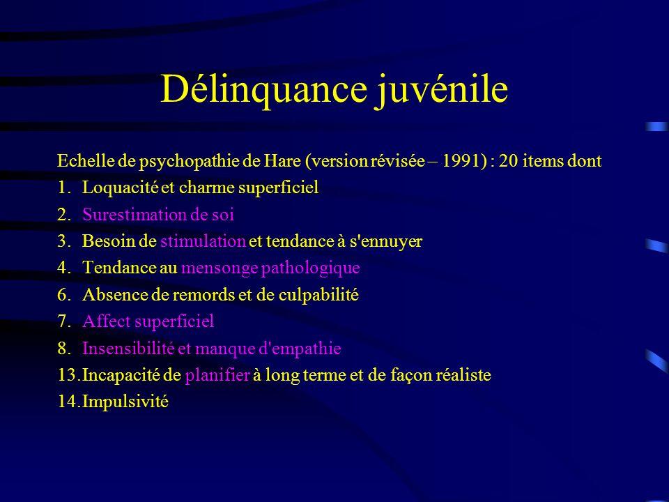 Délinquance juvénile Echelle de psychopathie de Hare (version révisée – 1991) : 20 items dont. 1. Loquacité et charme superficiel.