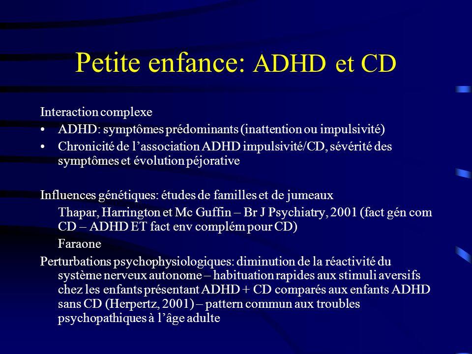 Petite enfance: ADHD et CD
