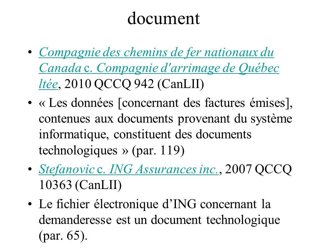 document Compagnie des chemins de fer nationaux du Canada c. Compagnie d arrimage de Québec ltée, 2010 QCCQ 942 (CanLII)