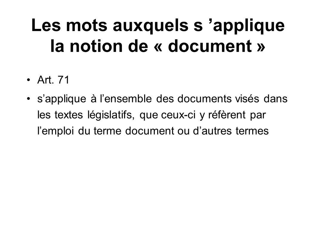 Les mots auxquels s 'applique la notion de « document »