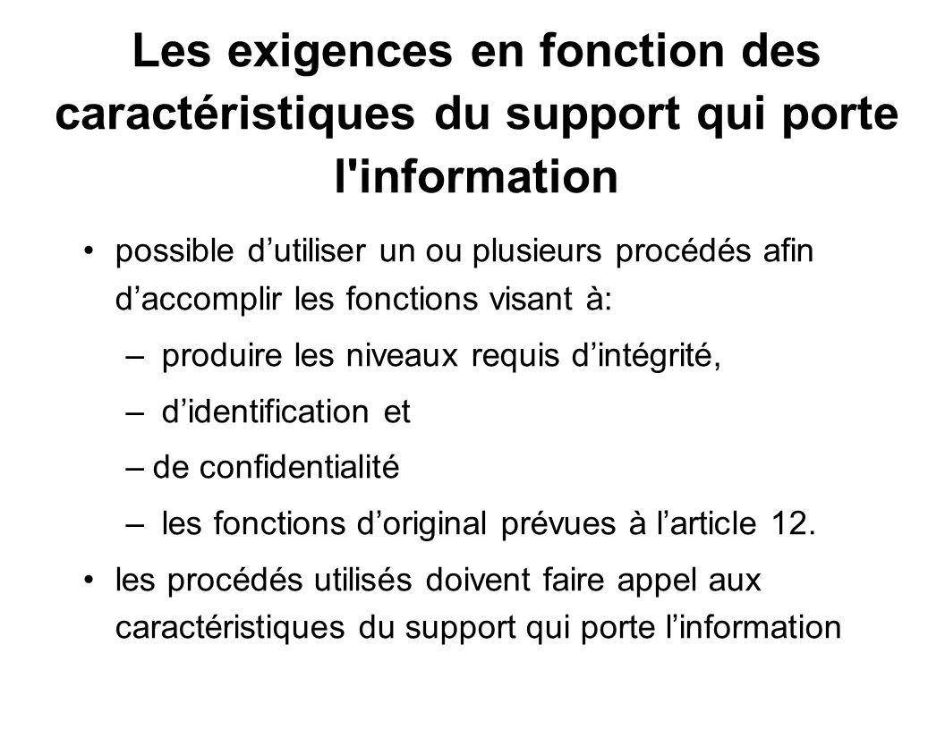 Les exigences en fonction des caractéristiques du support qui porte l information