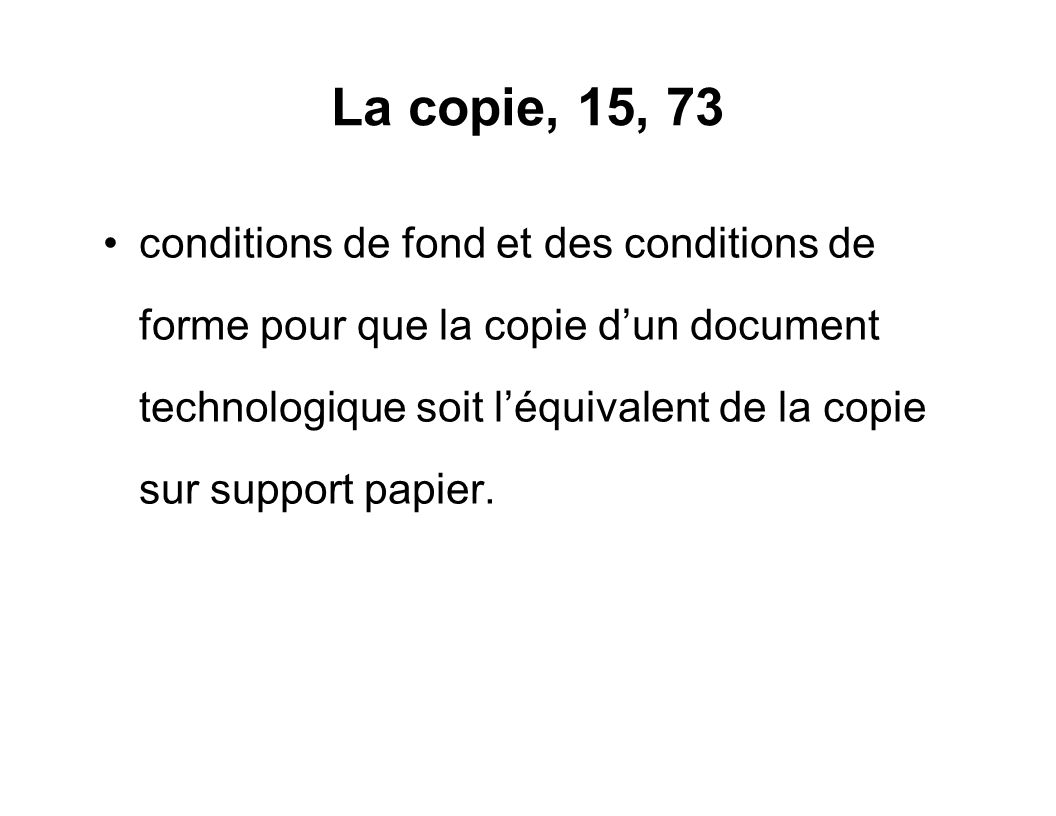 La copie, 15, 73