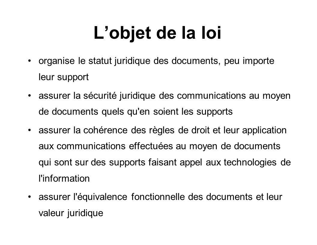 L'objet de la loi organise le statut juridique des documents, peu importe leur support.