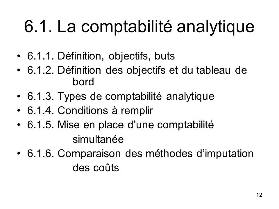 6.1. La comptabilité analytique