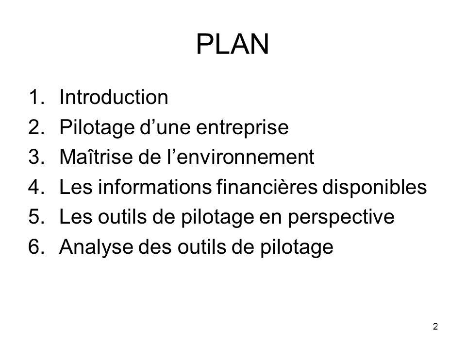 PLAN Introduction Pilotage d'une entreprise