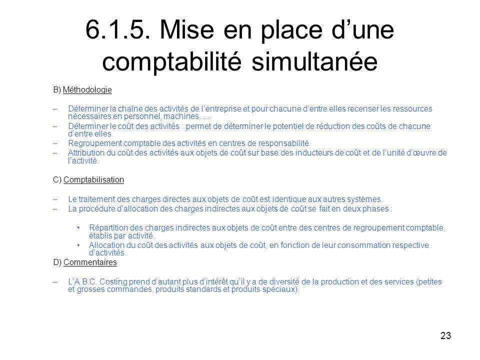 6.1.5. Mise en place d'une comptabilité simultanée