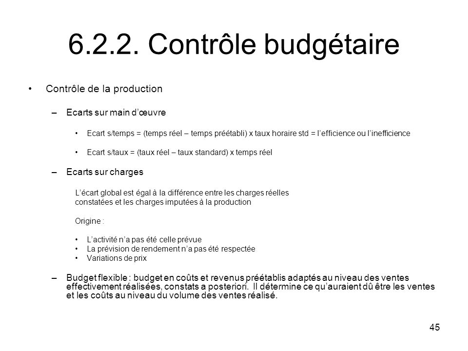 6.2.2. Contrôle budgétaire Contrôle de la production