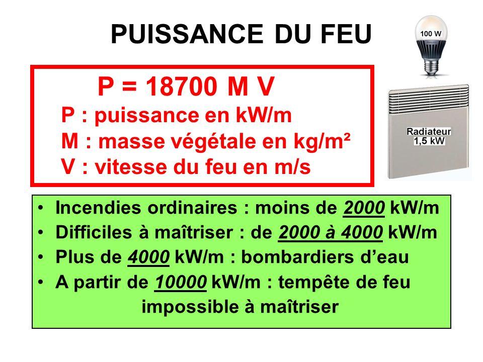 PUISSANCE DU FEU P = 18700 M V P : puissance en kW/m