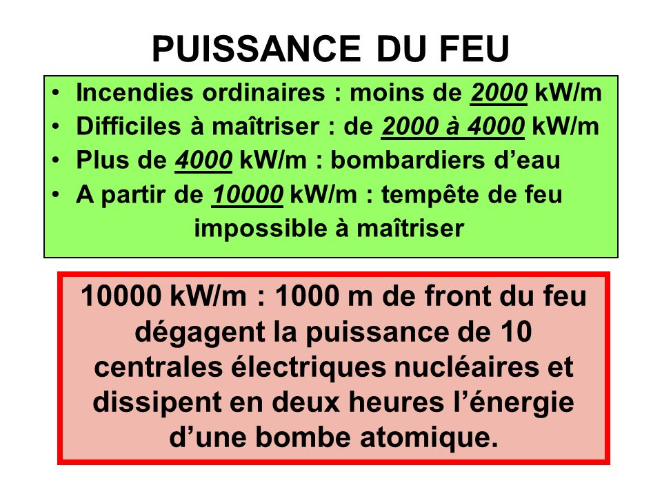 PUISSANCE DU FEU Incendies ordinaires : moins de 2000 kW/m. Difficiles à maîtriser : de 2000 à 4000 kW/m.
