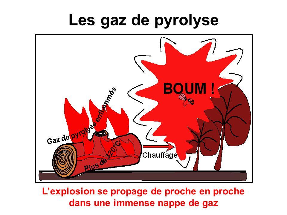 Les gaz de pyrolyse L'explosion se propage de proche en proche dans une immense nappe de gaz